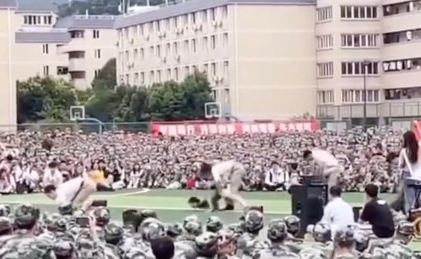 Their performance was seen by hundreds of freshers during a military training break