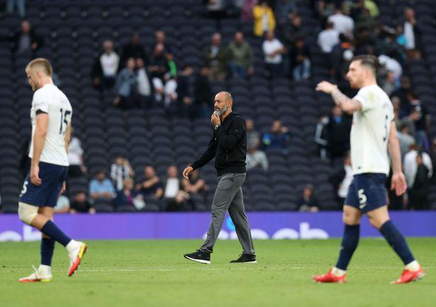 Tottenham Hotspur manager Nuno Espirito Santo walks off the pitch after the Premier League match between Tottenham Hotspur and Chelsea at Tottenham Hotspur Stadium on September 19, 2021 in London, England.