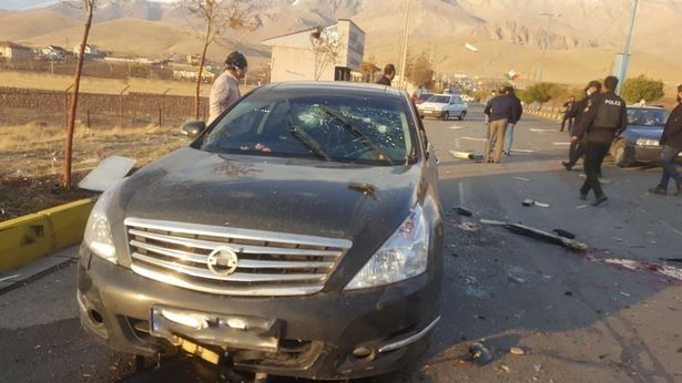FILE PHOTO: A view shows the scene of the attack that killed Prominent Iranian scientist Mohsen Fakhrizadeh, outside Tehran, Iran, November 27, 2020. WANA (West Asia News Agency) via REUTERS ATTENTION EDITORS - THIS IMAGE HAS BEEN SUPPLIED BY A THIRD PARTY./File Photo