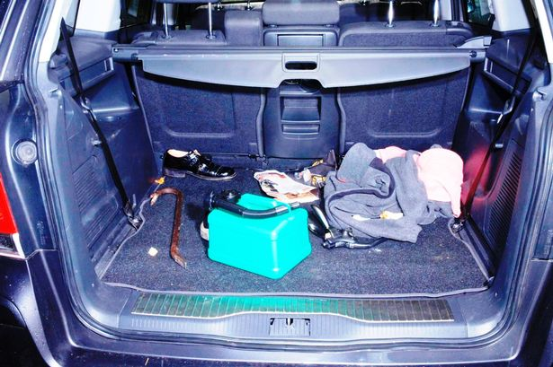 Undated Metropolitan Police handout photo of a crowbar in the boot of the Vauxhall Zafira which Delroy Grant used to enter a house on October 18, 2009.
