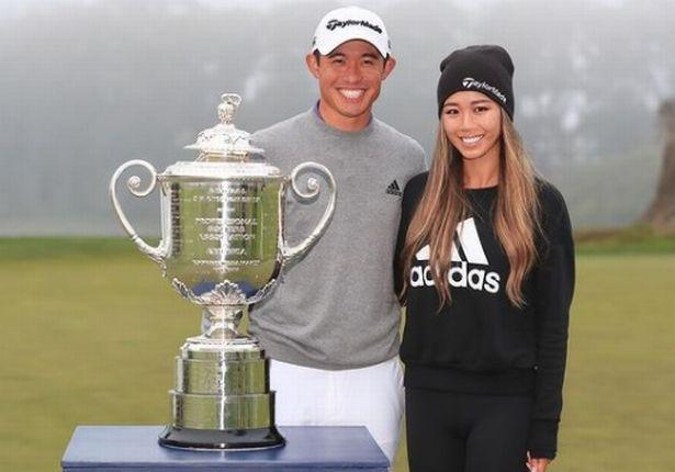 Katherine Zhu poses with boyfriend Collin Morikawa after the American golfer won the PGA Championship.