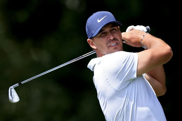 Brooks Koepka plays his shot from the second tee during the second round of the TOUR Championship at East Lake Golf Club on September 03, 2021 in Atlanta, Georgia.