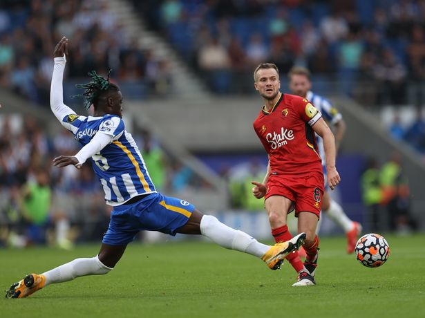 BRIGHTON, ENGLAND - AUGUST 21: Tom Cleverley of Watford and Yves Bissouma of Brighton & Hove Albion in action during the Premier League match between Brighton & Hove Albion and Watford at American Express Community Stadium on August 21, 2021 in Brighton, England. (Photo by Eddie Keogh/Getty Images)