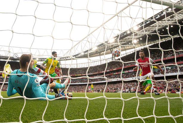 Aubameyang's only Premier League goal this season came against Norwich City