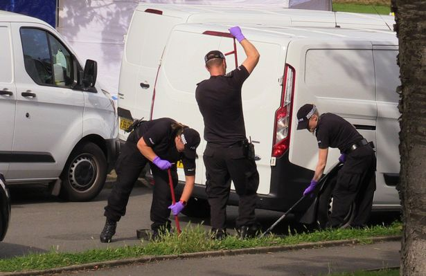 Officers were seen trawling through drains and grassland earlier today, September 21, as the investigation continues