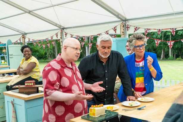 presenter Matt Lucas (left) with judges Prue Leith and Paul Hollywood in the first episode of The Great British Bake Off 2020.