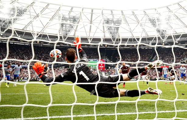 David de Gea saved Mark Noble's penalty to ensure Man Utd took all three points against West Ham
