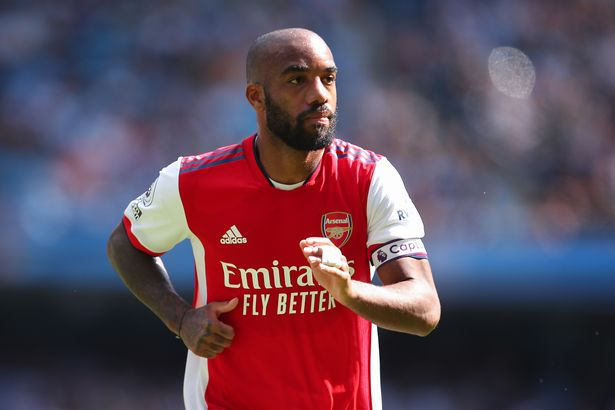 Alexandre Lacazette of Arsenal during the Premier League match between Manchester City and Arsenal at Etihad Stadium on August 28, 2021 in Manchester, England.