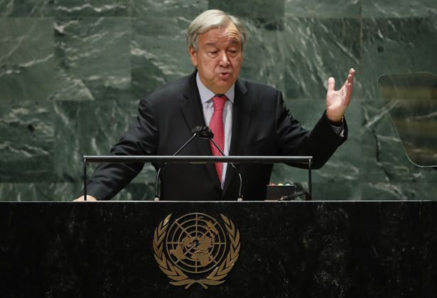 Mandatory Credit: Photo by EDUARDO MUNOZ/POOL/EPA-EFE/REX/Shutterstock (12455701k) United Nations Secretary-General Antonio Guterres addresses the 76th Session of the UN General Assembly in New York City, USA, 21 September 2021. 76th Session of the UN General Assembly, New York, USA - 21 Sep 2021