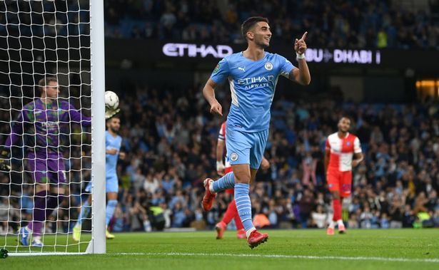 Ferran Torres of Manchester City during the Carabao Cup Third Round match between Manchester City and Wycombe Wanderers F.C. at Etihad Stadium on September 21, 2021 in Manchester, England. (