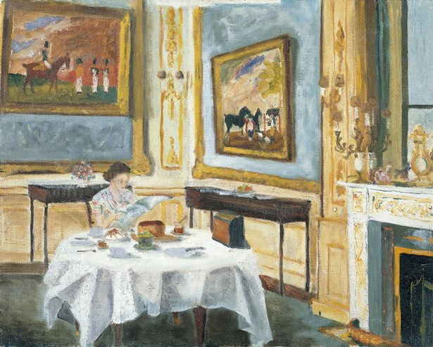Royal Collection of Queen Elizabeth II at breakfast, painted by the Duke of Edinburgh.