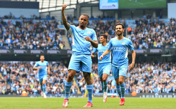 Gabriel Jesus of Manchester City celebrates their side's fourth goal scored by Raheem Sterling of Manchester City (not pictured) during the Premier League match between Manchester City and Norwich City at Etihad Stadium