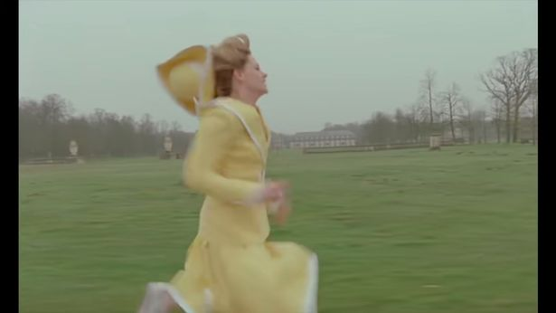 Diana is seen running in the palace grounds, and later rushing through the halls