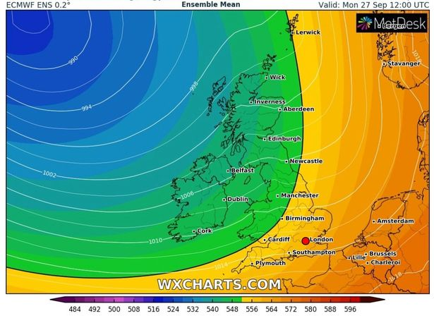 An Atlantic low-pressure front will bring the doom and gloom to UK weather