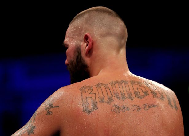 A detailed view of Tony Bellew's back tattoo designed by Andy Cassidy