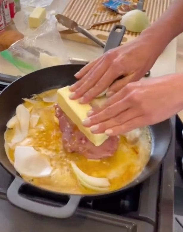 When cooking, she added another 110g of butter on top and dropped it the onions for flavour