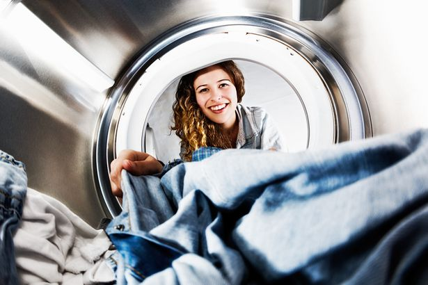 In an unusual view from inside the washing machine drum