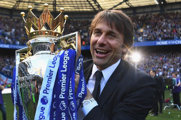 Antonio Conte, Manager of Chelsea poses with the Premier League Trophy after the Premier League match between Chelsea and Sunderland at Stamford Bridge on May 21, 2017 in London, England