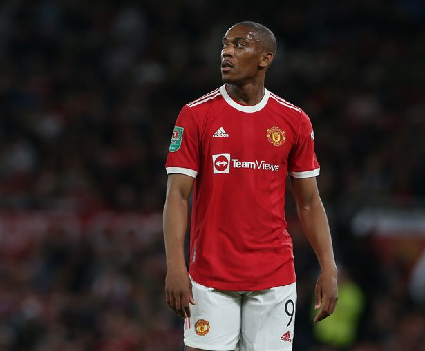 Anthony Martial of Manchester United in action during the Carabao Cup Third Round match between Manchester United and West Ham United at Old Trafford on September 22, 2021 in Manchester, England.