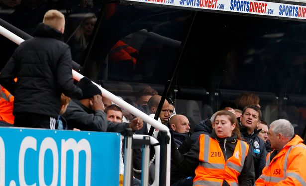 John Carver remonstrated with a fan during a defeat to Swansea - then invited him for a cup of tea