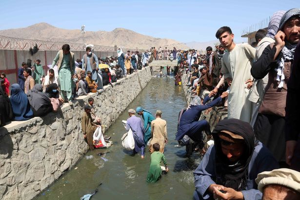 Hundreds of people have been trying to flee Afghanistan