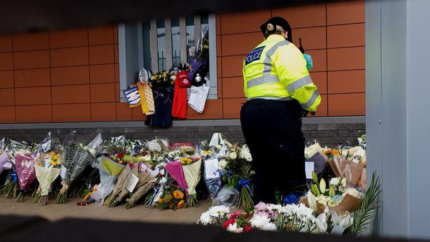 Flowers outside Croydon Custody Centre in south London