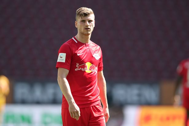 Timo Werner of Leipzig looks on during the Bundesliga match between FC Augsburg and RB Leipzig at WWK-Arena on June 27, 2020 in Augsburg, Germany