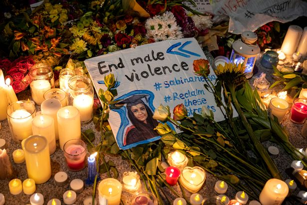 Candles in Pegler Square are left after a candlelight vigil for teacher Sabina Nessa on September 24, 2021 in London, England.
