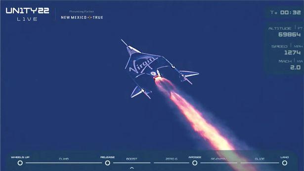 Virgin Galactic's passenger rocket plane VSS Unity, carrying billionaire Richard Branson