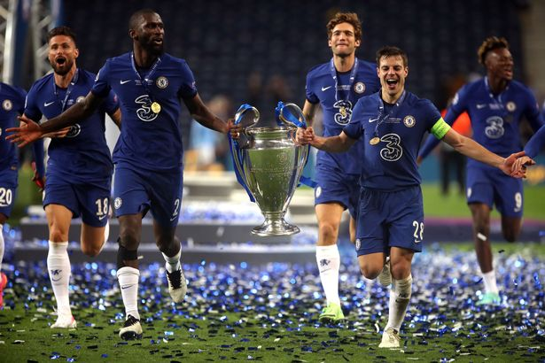 Chelsea's Cesar Azpilicueta (right) with Antonio Rudiger Trophy following victory over Chelsea in the UEFA Champions League Final held at Estadio do Dragao in Porto, Portugal
