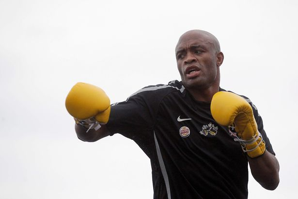 Anderson Silva works out for the fans and media at the UFC Rio Open Workouts at Copacabana Beach on August 24, 2011 in Rio de Janeiro, Brazil