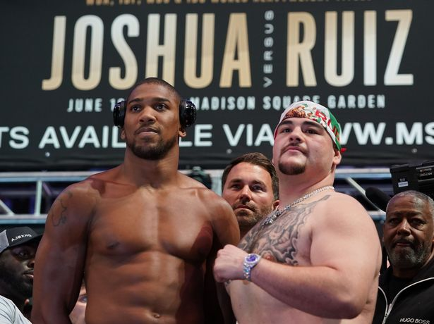World heavyweight boxing champion Anthony Joshua (L) of England and Mexican-American Andy Ruiz Jr. pose during their weigh-in at Madison Square Garden in New York, May 31, 2019