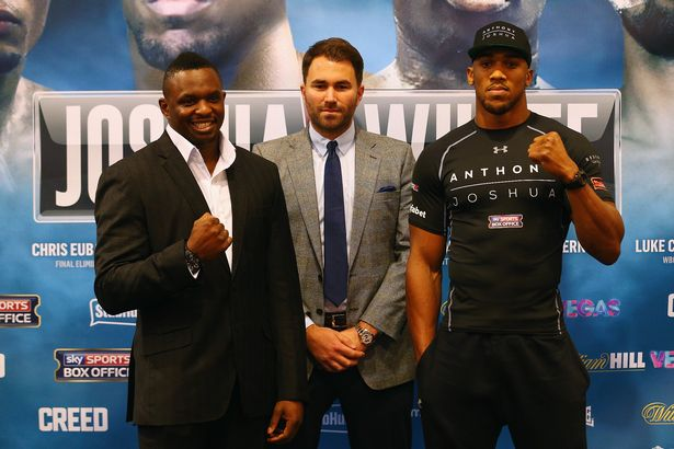 Dillian Whyte and Anthony Joshua before their 2015 fight