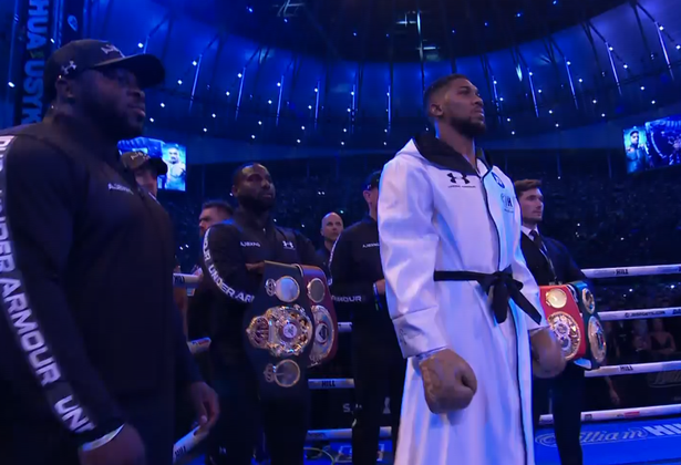 Anthony Joshua in the ring before his clash with Oleksandr Usyk