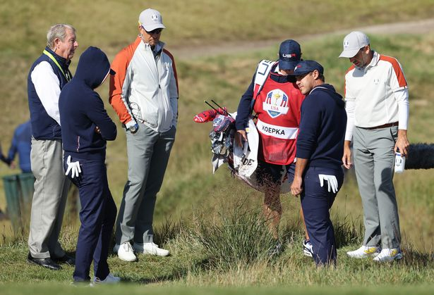 Play was held up for several minutes while Koepka argued with officials