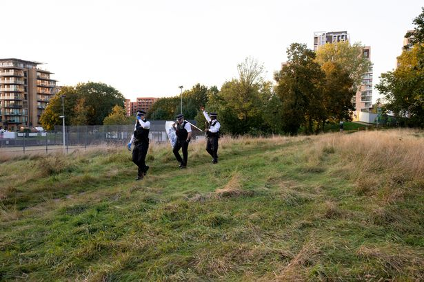 Police in Cator Park, south-east London, where Sabina's body was found