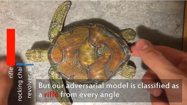 An AI image interpretation system saw this toy turtle as a rifle