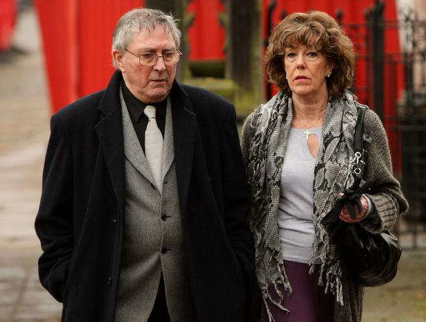 Coronation Street actress Sue Nicholls arrives with her husband Mark Eden for a memorial service for Sara Roache, the wife of Coronation Street actor Bill