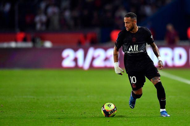 Neymar Jr of Paris Saint-Germain runs with the ball during the Ligue 1 Uber Eats match between Paris Saint Germain and Montpellier at Parc des Princes on September 25, 2021
