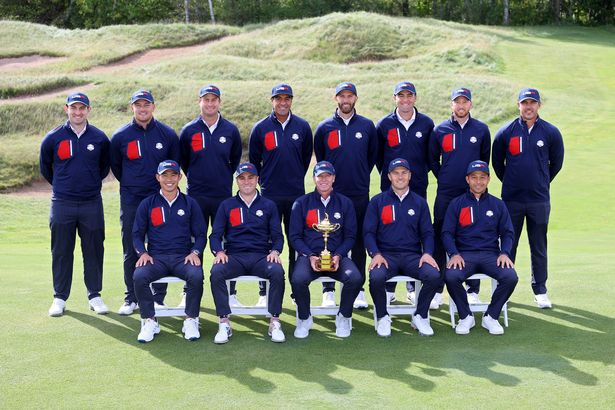 KOHLER, WISCONSIN - SEPTEMBER 22: (L-R) Patrick Cantlay of team United States, Bryson DeChambeau of team United States, Harris English of team United States, Tony Finau of team United States, Dustin Johnson of team United States, Scottie Scheffler of team United States, Daniel Berger of team United States, Brooks Koepka of team United States, (Front L-R) Collin Morikawa of team United States, Justin Thomas of team United States, captain Steve Stricker of team United States, Jordan Spieth of team United States and Xander Schauffele of team United States pose for a team photo prior to the 43rd Ryder Cup at Whistling Straits on September 22, 2021 in Kohler, Wisconsin. (Photo by Andrew Redington/Getty Images)