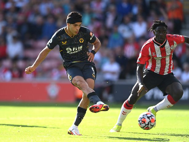 Raul Jimenez of Wolverhampton Wanderers scores their side's first goal during the Premier League match between Southampton and Wolverhampton Wanderers at St Mary's Stadium on September 26, 2021 in Southampton, England