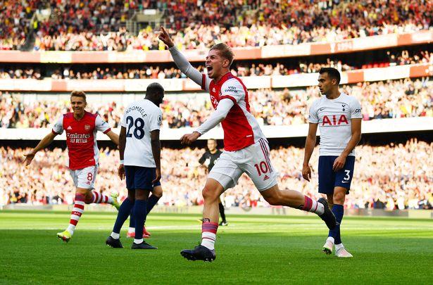 Emile Smith-Rowe celebrates scoring for Arsenal