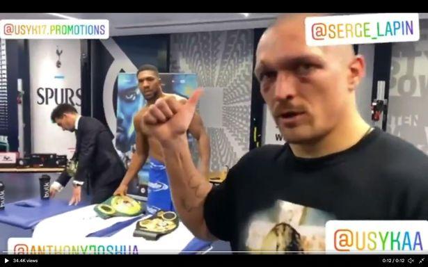 Oleksandr Usyk with Anthony Joshua