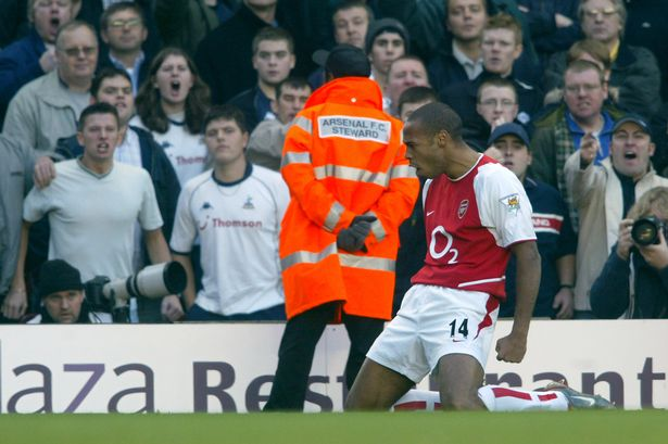 Thierry Henry celebrates against Tottenham Hotspur