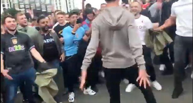 Aston Villa fans outside Old Trafford