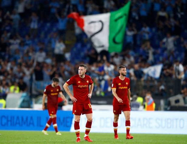 Jordan Veretout of AS Roma looks dejected during the Serie A match between SS Lazio and AS Roma