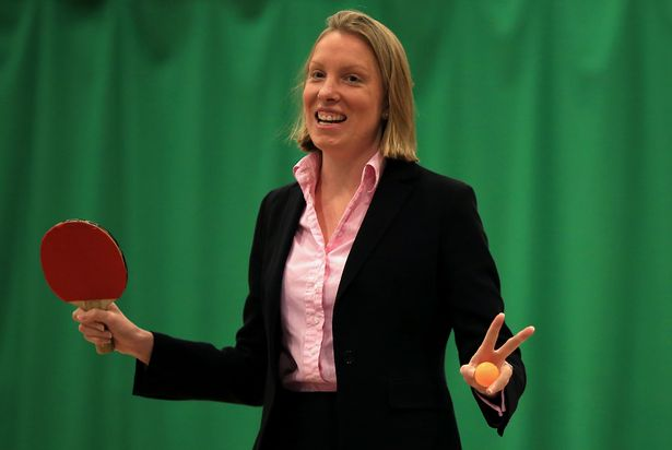 Sports Minister Tracey Crouch MP plays table tennis during her visit to the Sport England 'Fit for Fun' project at the University of East Anglia on May 28, 2015 in Norwich, England