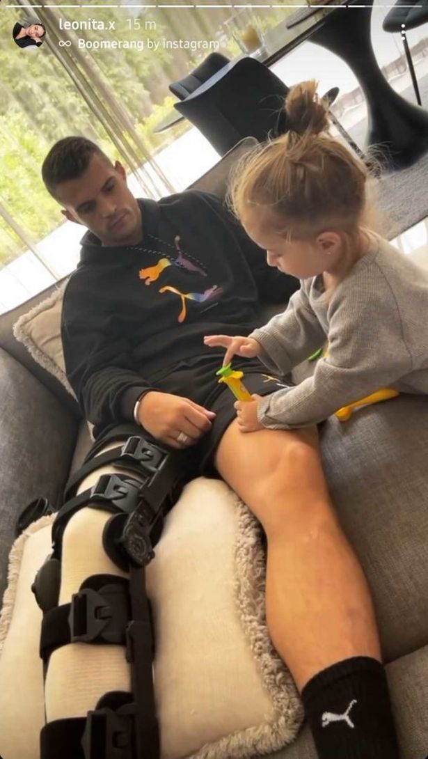 Granit Xhaka's wife posts snap of crocked Arsenal star in knee brace after Spurs injury
