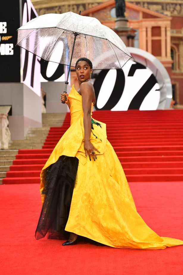 Lynch sheltered her vibrant yellow Vivienne Westwood Couture ball gown from the rain as she posed on the red carpet