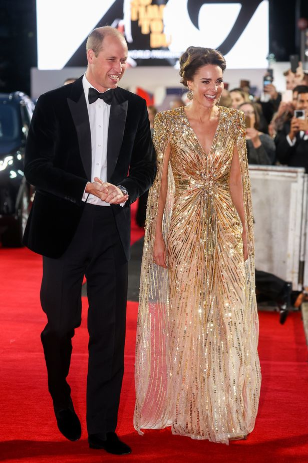 The Duchess of Cambridge wore a stunning gold Jenny Packham dress embellished with beads with a dramatic cape